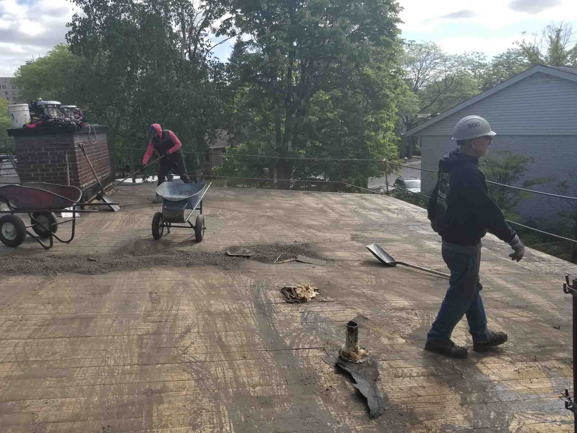 Demolition of the existing roof covering